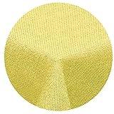 Leinen Optik Tischdecke Rund 140 cm Gelb · Rund Farbe & Größe wählbar mit Lotus Effekt - Wasserabweisend (R140Gelb)