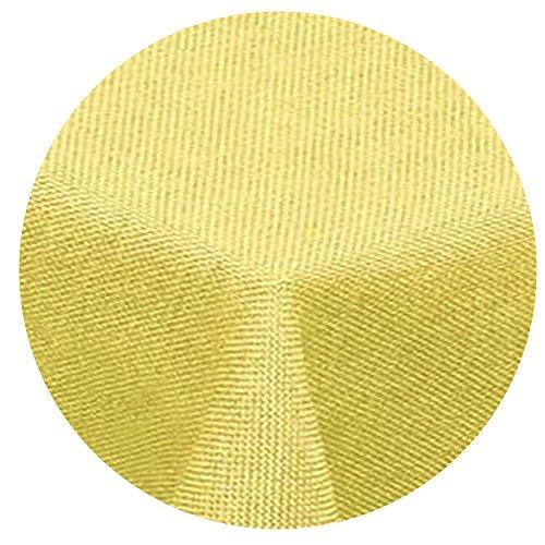 Preisvergleich Produktbild amp -artshop Leinen Optik Tischdecke Rund 140 cm Gelb - Farbe , Form & Größe wählbar mit Lotus Effekt
