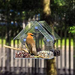 hunpta Verre Clair Fenêtre de Visualisation pour Oiseaux Hôtel Table de Graines de Peanut à Suspendre à Ventouse