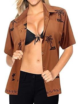 *La Leela* Blusas de La Camisa Hawaiana Botón de Ajuste Relajado Mujer Mangas Cortas Hasta La Parte Superior de...