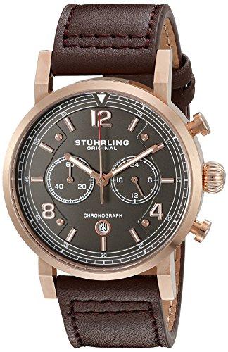 Stuhrling Original - Aviator - 583.03 - Montre bracelet - Quartz - Affichage - Analogique - Bracelet - Cuir - Marron - Cadran - Gris - Homme