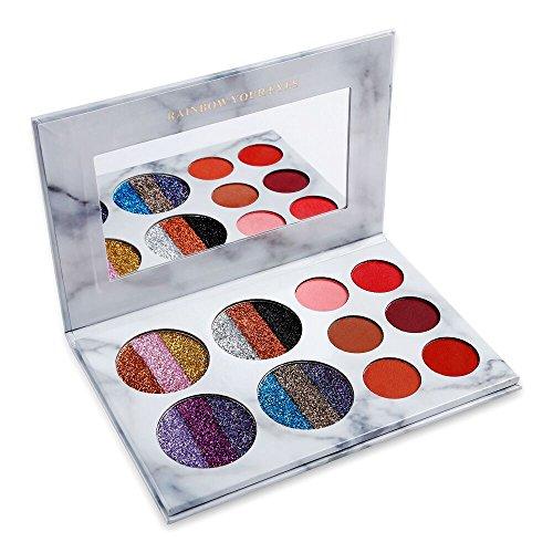 DE'LANCI Palette de maquillage pour les yeux, 4 Rainbow Glitter et 6 Matt Eyeshadow, palette de maquillage hautement pigmentée avec miroir de maquillage