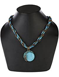 AMNOR Blue Beads Chain Pendant Necklace For Girls And Women