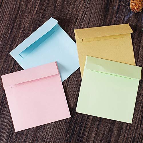 PInerxuz - 10Pcs Einfache Solid Color Quadrat-Umschlag Umschlag Papiertüte Büro-Briefpapier -