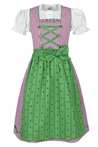 Mädchen Isar-Trachten Kinderdirndl beere grün mit Bluse, beere, 110 Karo-hose Für Mädchen
