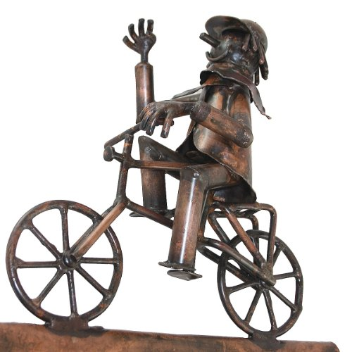 Kupferfigur Fahrradfahrer für die Dachrinne, 35 cm