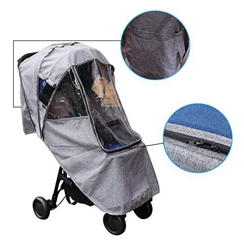 Todaytop Universal Regenschutz mit Sichtfenster Leinen Regenverdeck Regenhaube für Kinderwagen Buggys Sportwagen Babywannen,Gute Luftzirkulation