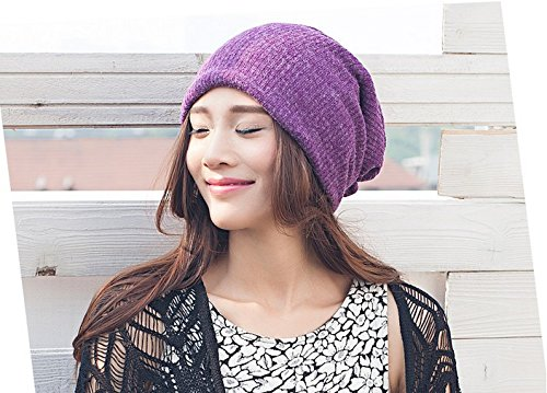 Winter Hat Knit Russian Cute Trapper Warm Cool Girl Women Beanie Purple