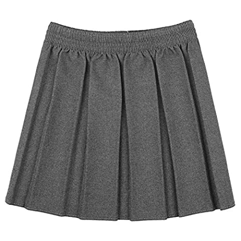 GIRLS KIDS SCHOOL UNIFORM BOX PLEATED ELASTICATED WAIST SKIRT AGE 2-18 YEARS[Grey ,13-14 Year]