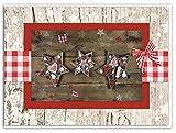 3 Stück Weihnachtskarten 3 WEIHNACHTS-STERNE natur rot weiß kariert braun weihnachtliche Klapp-Karten Weihnachten MIT KUVERT Grußkarte Foto-Karte Foto-Motiv OHNE TEXT