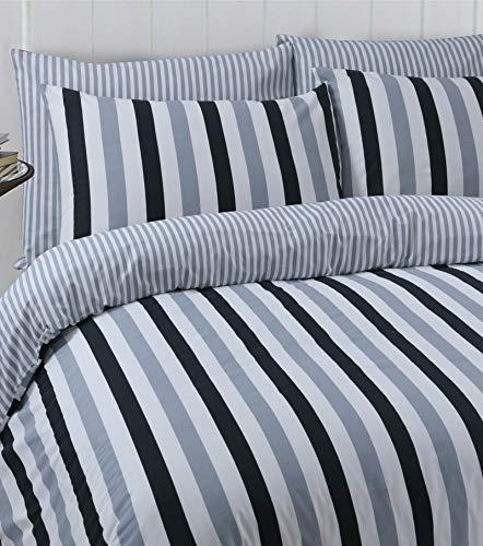LinenZone Bettwäsche-Set, ägyptische Baumwolle, wendbar, Bedruckt, Oxford-Kissenbezüge, Stripes Black Grey, Doppelbett -