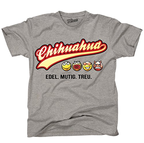 Siviwonder Unisex T-Shirt CHIHUAHUA - OLD SCHOOL SCHRIFT Hunde Sports Grey