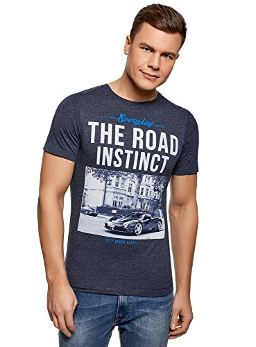 oodji Ultra Herren Bedrucktes T-Shirt Blau (7910P)
