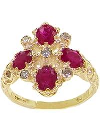 Luxus Damen Ring Solide 18 Karat (750) Gelbgold mit Rubin und Diamanten - Verfügbare Größen : 47 bis 68
