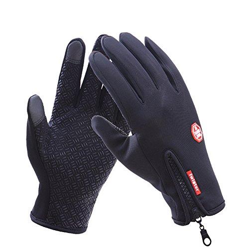 LaiXin Guanti, Guanti Moto Invernali, Impermeabile Guanti Touch Screen Waterproof per Ciclismo, Arrampicata, Ciclismo Moto Sci - Nero