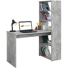 COMIFORT Escritorio con Estanteria Reversible, Mesa de Ordenador, 120x52x72/144 cm (Stone