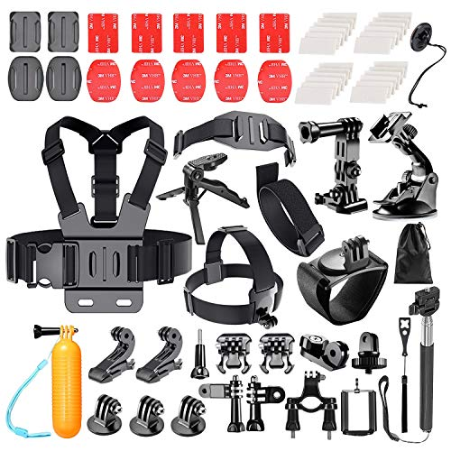 Followsun 62-In-1 Sports Action Camera Accessories Kit for GoPro Hero Session/5 Hero 1 2 3 3+ 4 5 SJ4000 SJ7000 DBPOWER AKASO VicTsing APEMAN WiMiUS Rollei QUMOX Lightdow Campark And Sony Sports DV