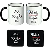 YaYa Cafe Anniversary Gifts For Mom Dad, Mr.Right Mrs.Right Couple Ceramic Coffee Mugs, 3.5-inch,(White And Black, KH0040MD)- Set Of 2
