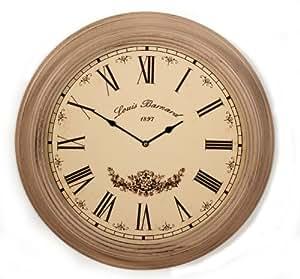 Horloge murale en bois xXL 56 cm avec vitre en verre style maison de campagne couleur :  bois rose/marron/motif :  louis barnard 1897 großuhr nostalgie style horloge de gare