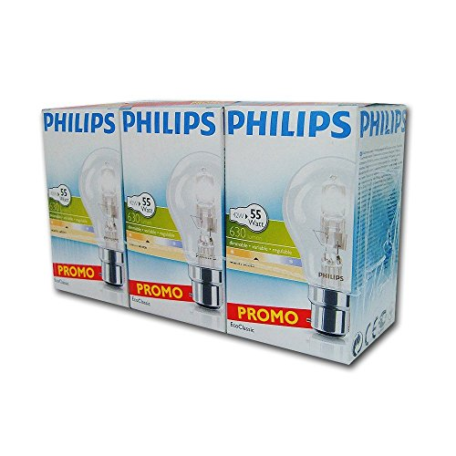 Philips EcoClassic 3 Stück Halogenlampen traditionellen B22 42 Watt 240 V -
