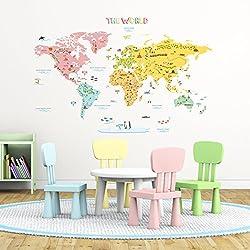 Decowall DLT-1616N Mapamundi de Color Vinilo Pegatinas Decorativas Adhesiva Pared Dormitorio Salón Guardería Habitación Infantiles Niños Bebés (Extra Grande)