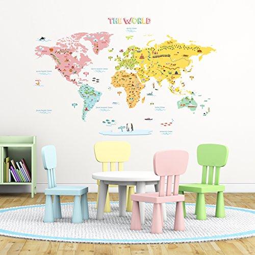 Decowall DLT-1616N Mapamundi de Color Vinilo Pegatinas Decorativas Adhesiva Pared Dormitorio Salón Guardería Habitación Infantiles Niños Bebés (Extra Grande) (English Ver.)