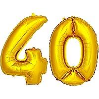 DekoRex® número globo decoración cumpleaños brillante para aire en oro 40cm de alto No. 40
