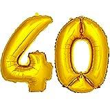 DekoRex® Folienballon Zahlenballon Luftballon Geburtstag Deko 40cm Gold Zahl: 40