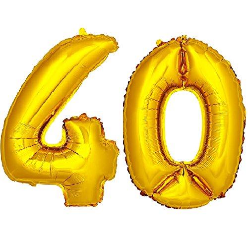 DekoRex número Globo decoración cumpleaños Brillante para Aire en Oro 40cm de Alto No. 40