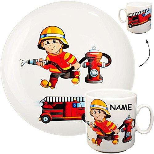 alles-meine.de GmbH 2 TLG. Set _ großer Teller / Kinderteller + Henkeltasse -  Feuerwehr - Feuerwehrmann & Feuerwehrauto  - inkl. Name - aus Porzellan / Keramik - Tasse - Speis..