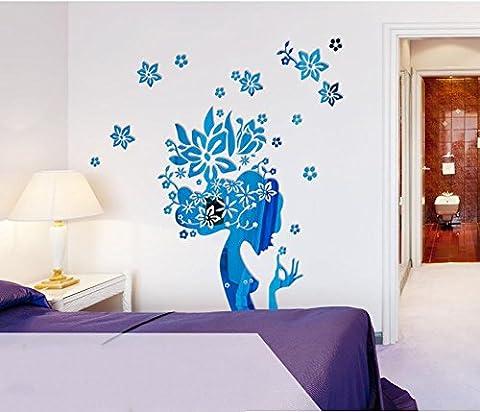 Blumen-Fee-Spiegel-Aufkleber DIY Hauptkunst-Dekoration-Wohnzimmer-Schlafzimmer Selbstklebendes entfernbares Acryl , mirror-blue , small