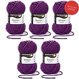 Boston Wolle Schachenmayr Strickgarn - 5x lila Wolle stricken häkeln in Nadelstärke 7-8 mm - Schachenmayr Wolle Boston in violett (Fb 049) - 50 g/Knäuel inkl. GRATIS MyOma Wollrausch Label