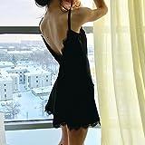 Youngii Vêtement de nuits Femme Sexy, Chemise de nuits Sangle Lingerie Babydoll mini Robe (Noir, M) - 2