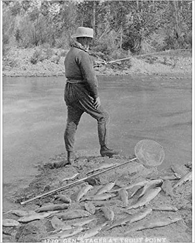 Photographic Print of Gen. Stager at trout pond