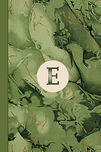 Monogram E Marble Notebook (Leafy Green Edition): Blank Lined Marble  Journal for Names Starting with Initial Letter E