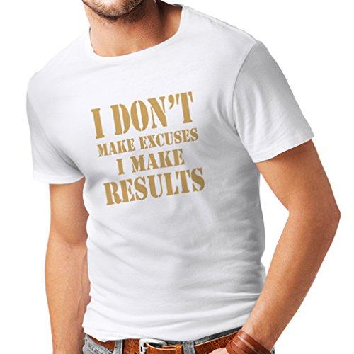 lepni.me Männer T-Shirt I make results - Gewicht verlieren schnelle Zitate und Muskelaufbau Motivationsrede (X-Large Weiß Gold) (Personalisierte Trainingshose)