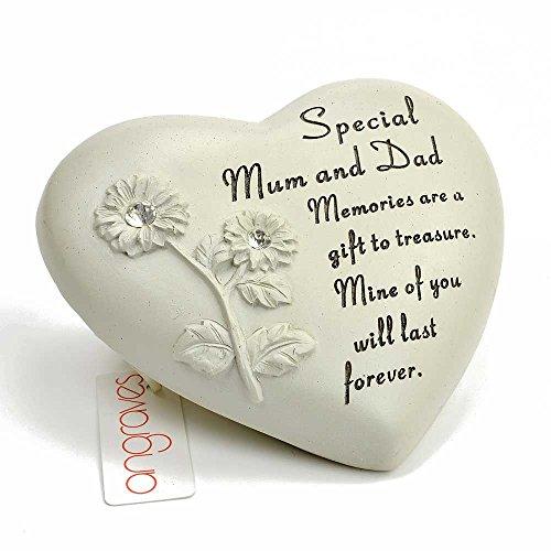 Special Mum & Dad Blume Diamant Herz Graveside Ornament Vers Plaque