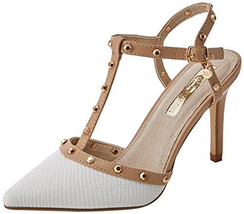 XTI 30689, Zapatos Tacon Tira Vertical Mujer, Blanco
