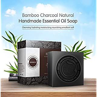 APRITECH® hand soap Essential Oil soap,natural soap,black soap,carbolic soap Bamboo Charcoal Handmade Soap Blackhead Remover Acne Whitening Deep Cleansing, Raw Organic Soap