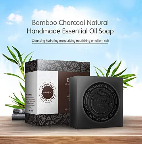 Apritech® sapone di carbone di bamboo oli essenziali sapone sapone nero organico cosmetici vegan per tutti i tipi di pelle (carbone di bambù)