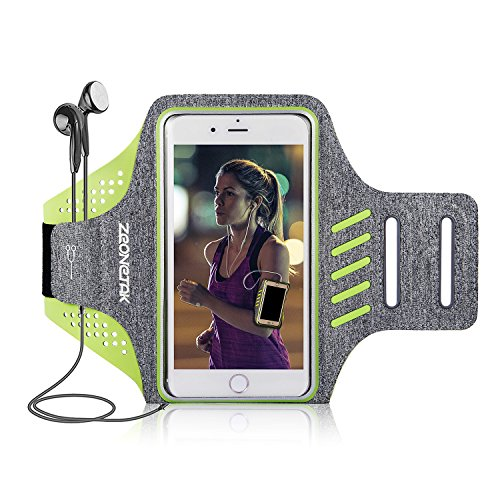 Zeonetak Sports Armband Wasserdicht Atmungsaktiv Verstellbar Klett Kopfhörer Halter iPhone8plus,iPhoneX,iPhone7s plus,iPhone 6plus,Galaxy s8 plus,Samsung Galaxy S5 S6 S7 die Meisten Anderen Handys (Htc One M8 Case Mit Armband)