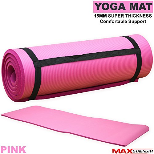 MAXSTRENGTH Yoga Matte Physio Matte Extra Dick 15 mm Rutschfeste Pilates Workout NBR Gymnastikmatte Auch Ideal als Camping und Picknick Matte Extreme Comfort Mat Schwarz/Blau/Rot/Pink, Rose