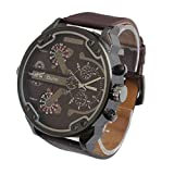 Bluestercool Luxus-Militärarmee Dual Time Quarz Große Dial-Armbanduhr (Braun)