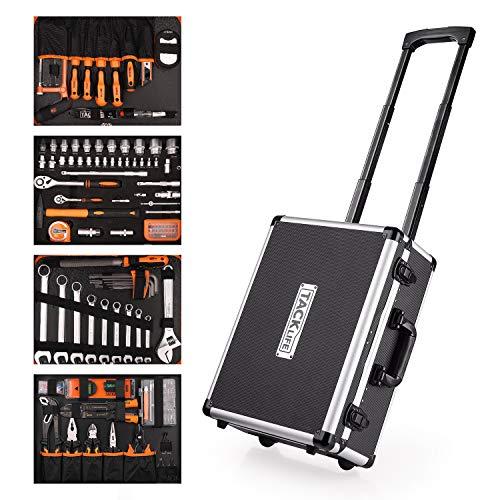 Werkzeugkoffer, TACKLIFE 177-tlg Werkzeugtrolley mit Rollen, multifunktionale Haushaltshandwerkzeugcase, Hochqualitätswerkzeug aus CRV mit mode stange Aluminiumbox - HHK5B