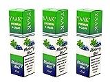 YAAK® Premium E-Liquid / Liquid 3 x 10 ml Blaubeere Minze ohne Nikotin / E-Zigaretten, Elektrische-Zigarette, E-Shisha / Geschmacksaroma Blueberry Mint