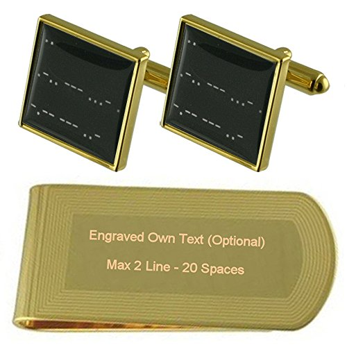 Morse Code ich Liebe dich Gold-Manschettenknöpfe Geldscheinklammer Gravur Geschenkset -
