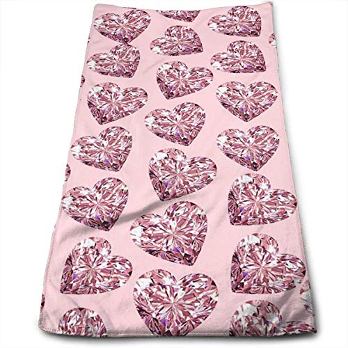 BBABYY Hand Towels Bling Pink Heart Face Towels Highly Absorbent Towels for Face Gym and Spa 12 X 27.5 Inch/30cm X 70cm - Pink Hearts Bling
