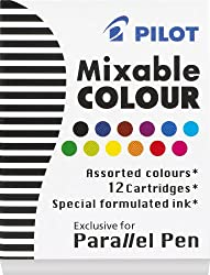 Pilot Parallel Pen Ink Refills for Calligraphy Pens, Assorted Colors, 12 Cartridges per Pack (77312)