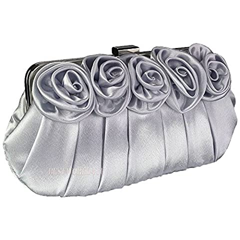 Wocharm Ladies Satin Silk Rose Clutch Bag Evening Party Prom Wedding Bridal Handbag (Silver)