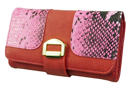 Kukubird Faux Snake Buckle Purse Prom Party Clutch Bag Wallet - Red